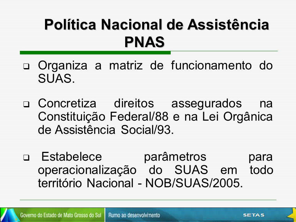  Organiza a matriz de funcionamento do SUAS.  Concretiza direitos assegurados na Constituição Federal/88 e na Lei Orgânica de Assistência Social/93.