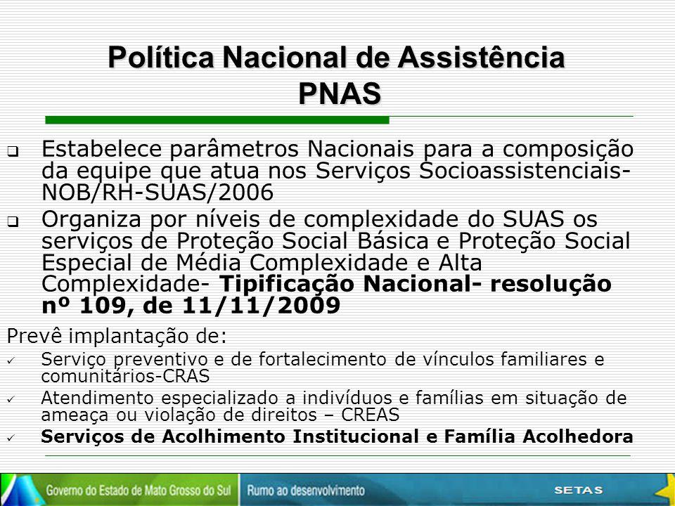  Estabelece parâmetros Nacionais para a composição da equipe que atua nos Serviços Socioassistenciais- NOB/RH-SUAS/2006  Organiza por níveis de comp