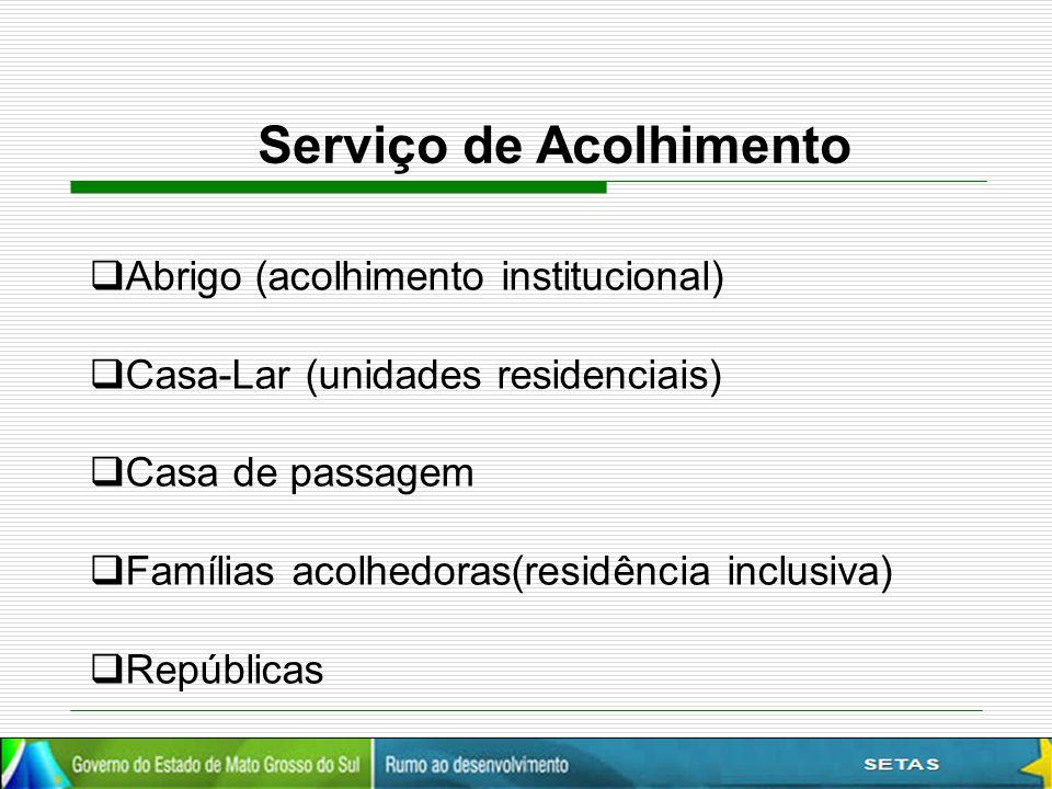 Serviço de Acolhimento  Abrigo (acolhimento institucional)  Casa-Lar (unidades residenciais)  Casa de passagem  Famílias acolhedoras(residência in