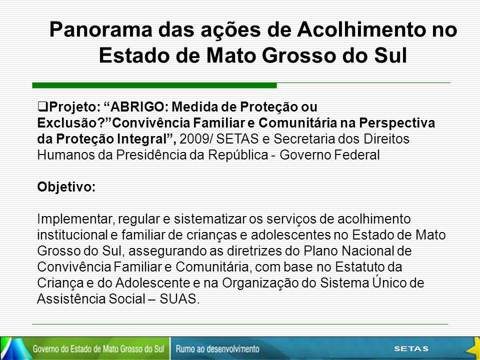 """ Projeto: """"ABRIGO: Medida de Proteção ou Exclusão?""""Convivência Familiar e Comunitária na Perspectiva da Proteção Integral"""", 2009/ SETAS e Secretaria"""