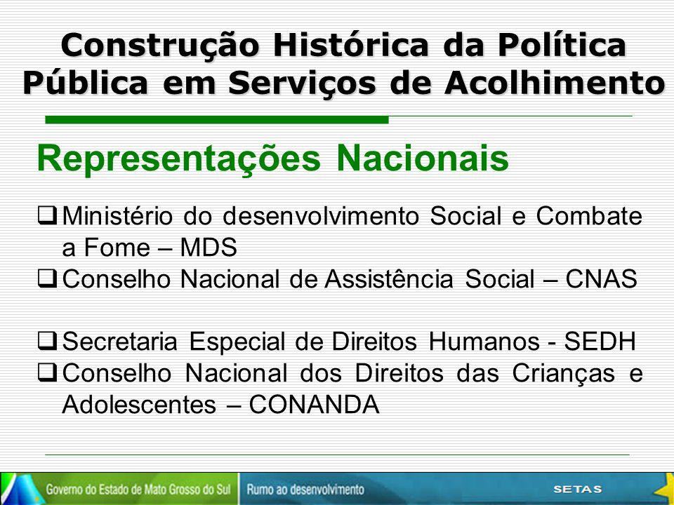 Construção Histórica da Política Pública em Serviços de Acolhimento Representações Nacionais  Ministério do desenvolvimento Social e Combate a Fome –