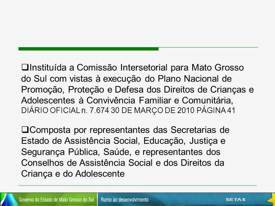  Instituída a Comissão Intersetorial para Mato Grosso do Sul com vistas à execução do Plano Nacional de Promoção, Proteção e Defesa dos Direitos de C