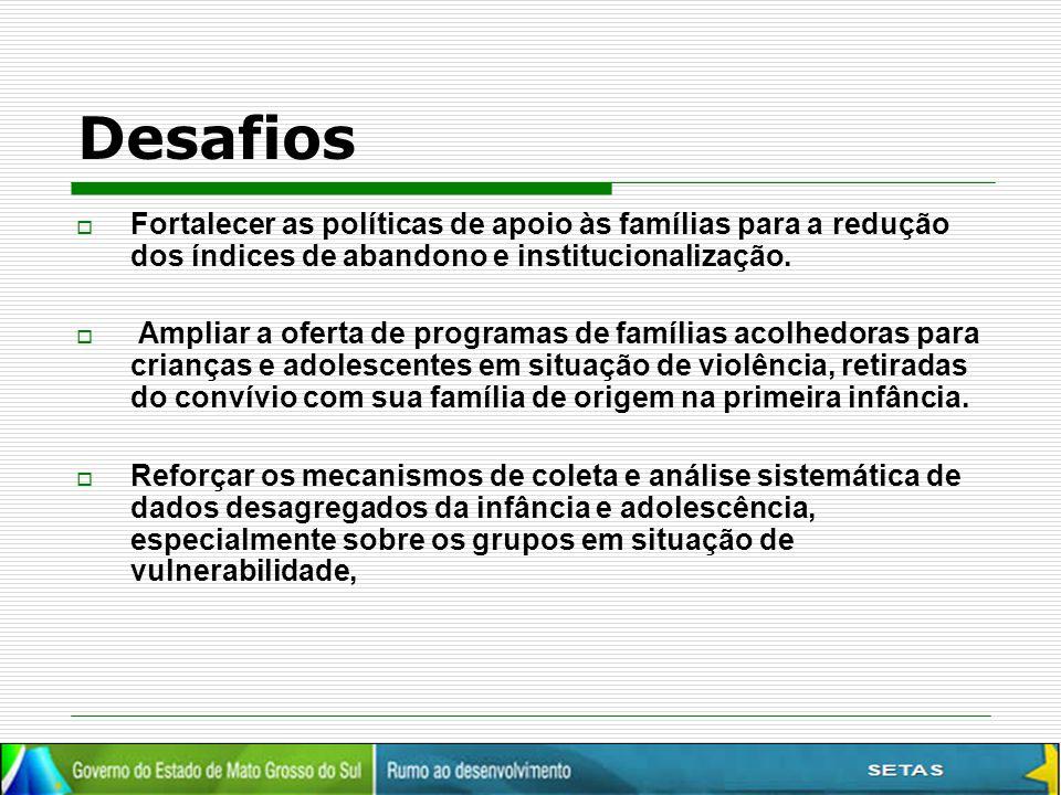 Desafios  Fortalecer as políticas de apoio às famílias para a redução dos índices de abandono e institucionalização.  Ampliar a oferta de programas