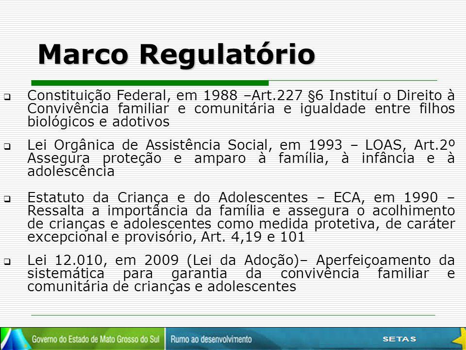 Marco Regulatório  Constituição Federal, em 1988 –Art.227 §6 Instituí o Direito à Convivência familiar e comunitária e igualdade entre filhos biológi