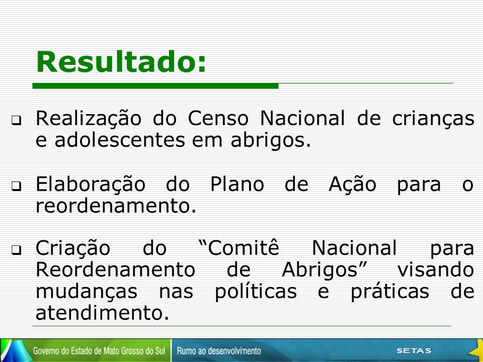 """Resultado:  Realização do Censo Nacional de crianças e adolescentes em abrigos.  Elaboração do Plano de Ação para o reordenamento.  Criação do """"Com"""
