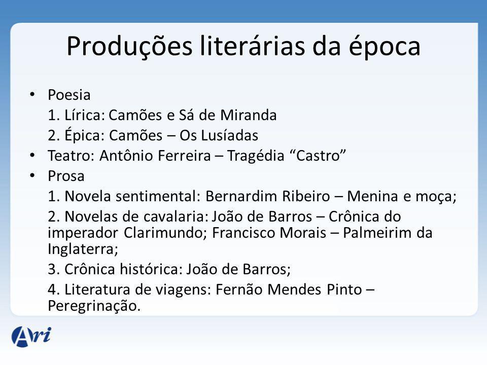 """Produções literárias da época Poesia 1. Lírica: Camões e Sá de Miranda 2. Épica: Camões – Os Lusíadas Teatro: Antônio Ferreira – Tragédia """"Castro"""" Pro"""