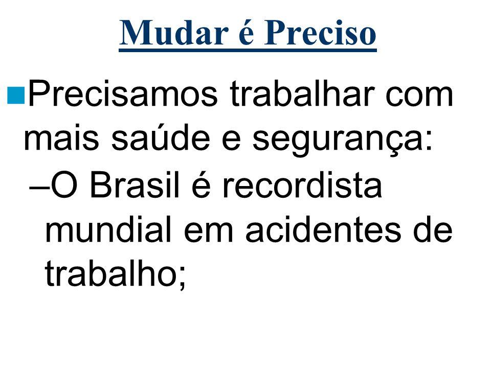 Mudar é Preciso Precisamos trabalhar com mais saúde e segurança: –O Brasil é recordista mundial em acidentes de trabalho;