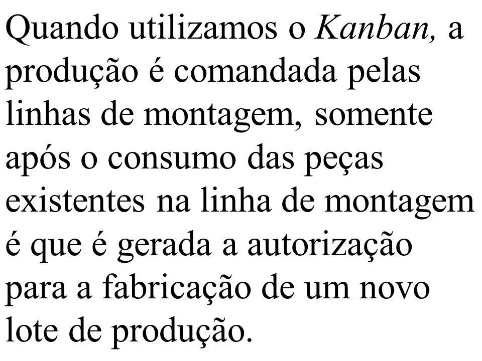 Quando utilizamos o Kanban, a produção é comandada pelas linhas de montagem, somente após o consumo das peças existentes na linha de montagem é que é gerada a autorização para a fabricação de um novo lote de produção.