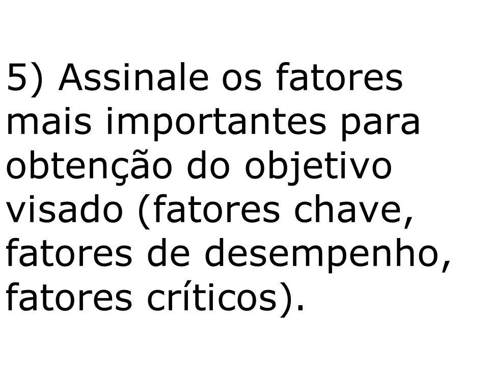 5) Assinale os fatores mais importantes para obtenção do objetivo visado (fatores chave, fatores de desempenho, fatores críticos).