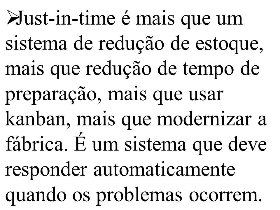  Just-in-time é mais que um sistema de redução de estoque, mais que redução de tempo de preparação, mais que usar kanban, mais que modernizar a fábri