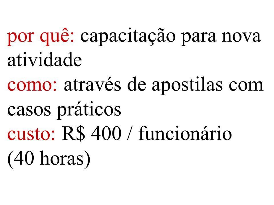 por quê: capacitação para nova atividade como: através de apostilas com casos práticos custo:R$ 400 / funcionário (40 horas)