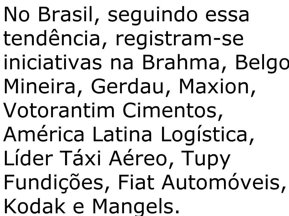 No Brasil, seguindo essa tendência, registram-se iniciativas na Brahma, Belgo Mineira, Gerdau, Maxion, Votorantim Cimentos, América Latina Logística,