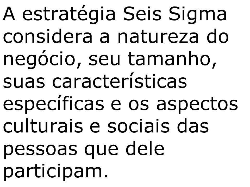 A estratégia Seis Sigma considera a natureza do negócio, seu tamanho, suas características específicas e os aspectos culturais e sociais das pessoas que dele participam.
