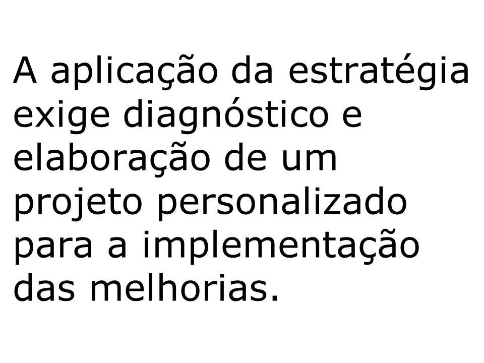 A aplicação da estratégia exige diagnóstico e elaboração de um projeto personalizado para a implementação das melhorias.