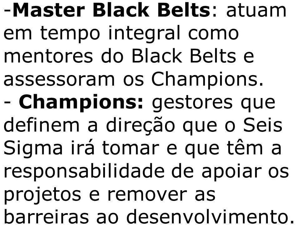 - -Master Black Belts: atuam em tempo integral como mentores do Black Belts e assessoram os Champions. - Champions: gestores que definem a direção que