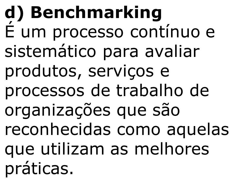 d) Benchmarking É um processo contínuo e sistemático para avaliar produtos, serviços e processos de trabalho de organizações que são reconhecidas como