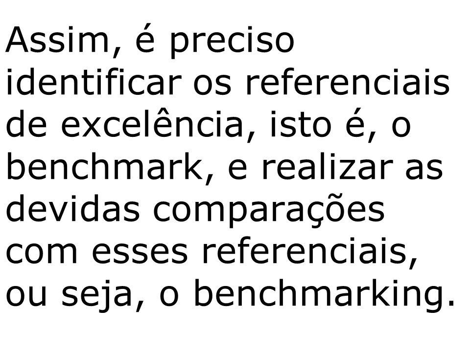 Assim, é preciso identificar os referenciais de excelência, isto é, o benchmark, e realizar as devidas comparações com esses referenciais, ou seja, o benchmarking.