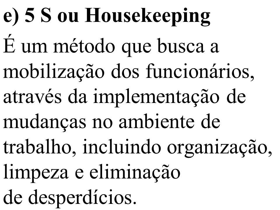 e) 5 S ou Housekeeping É um método que busca a mobilização dos funcionários, através da implementação de mudanças no ambiente de trabalho, incluindo organização, limpeza e eliminação de desperdícios.