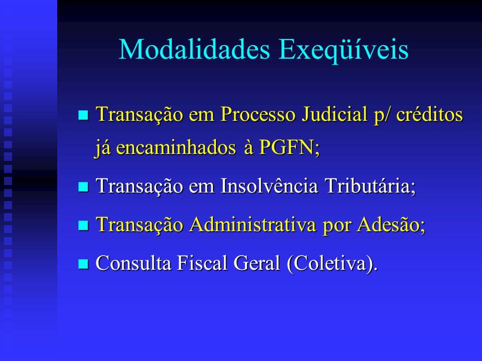 Modalidades Exeqüíveis Transação em Processo Judicial p/ créditos já encaminhados à PGFN; Transação em Processo Judicial p/ créditos já encaminhados à PGFN; Transação em Insolvência Tributária; Transação em Insolvência Tributária; Transação Administrativa por Adesão; Transação Administrativa por Adesão; Consulta Fiscal Geral (Coletiva).