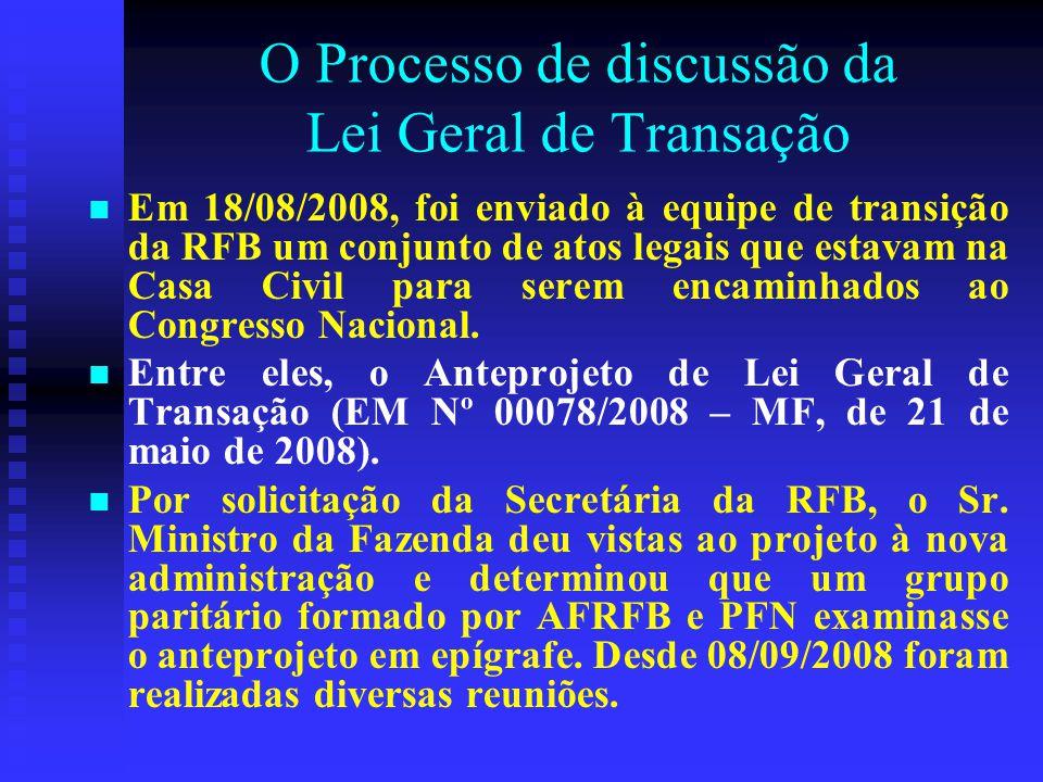 O Processo de discussão da Lei Geral de Transação Em 18/08/2008, foi enviado à equipe de transição da RFB um conjunto de atos legais que estavam na Casa Civil para serem encaminhados ao Congresso Nacional.