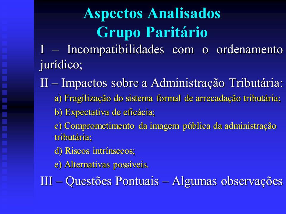 Aspectos Analisados Grupo Paritário I – Incompatibilidades com o ordenamento jurídico; II – Impactos sobre a Administração Tributária: a) Fragilização do sistema formal de arrecadação tributária; b) Expectativa de eficácia; c) Comprometimento da imagem pública da administração tributária; d) Riscos intrínsecos; e) Alternativas possíveis.