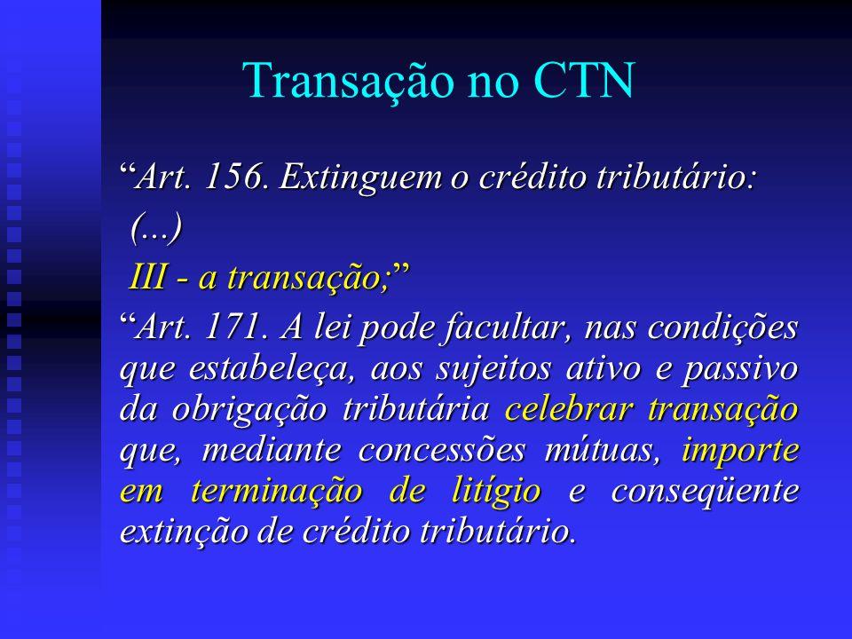 Transação no CTN Art. 156.