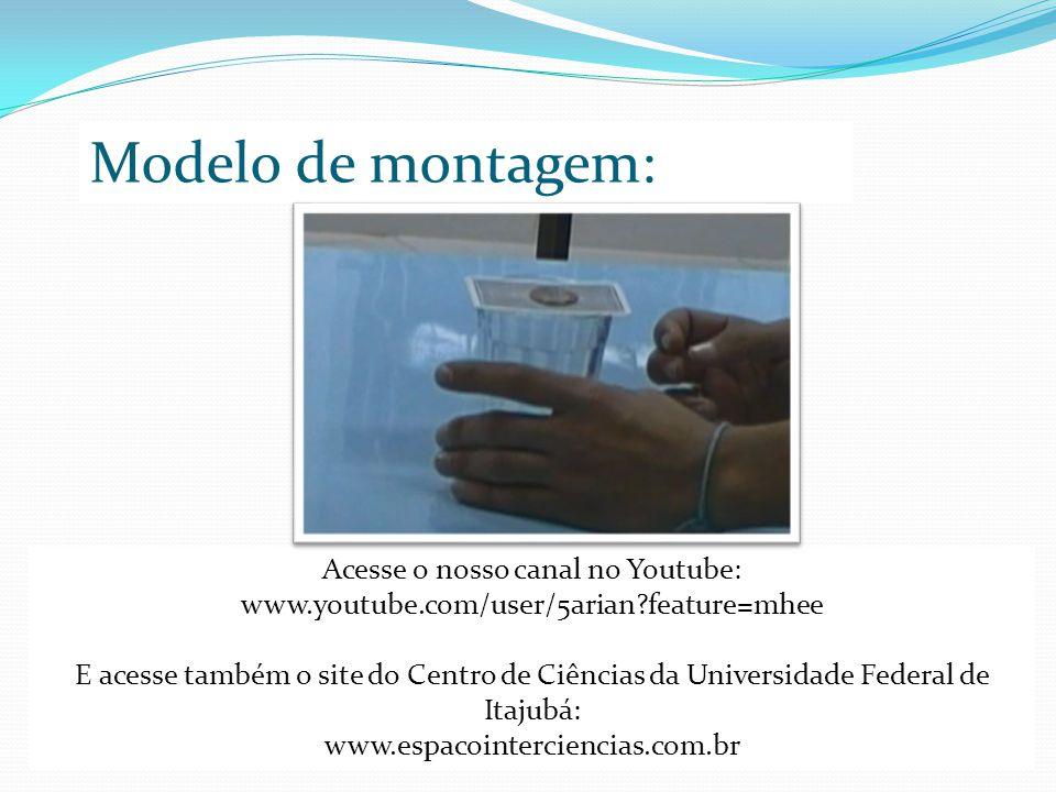 Modelo de montagem: Acesse o nosso canal no Youtube: www.youtube.com/user/5arian feature=mhee E acesse também o site do Centro de Ciências da Universidade Federal de Itajubá: www.espacointerciencias.com.br