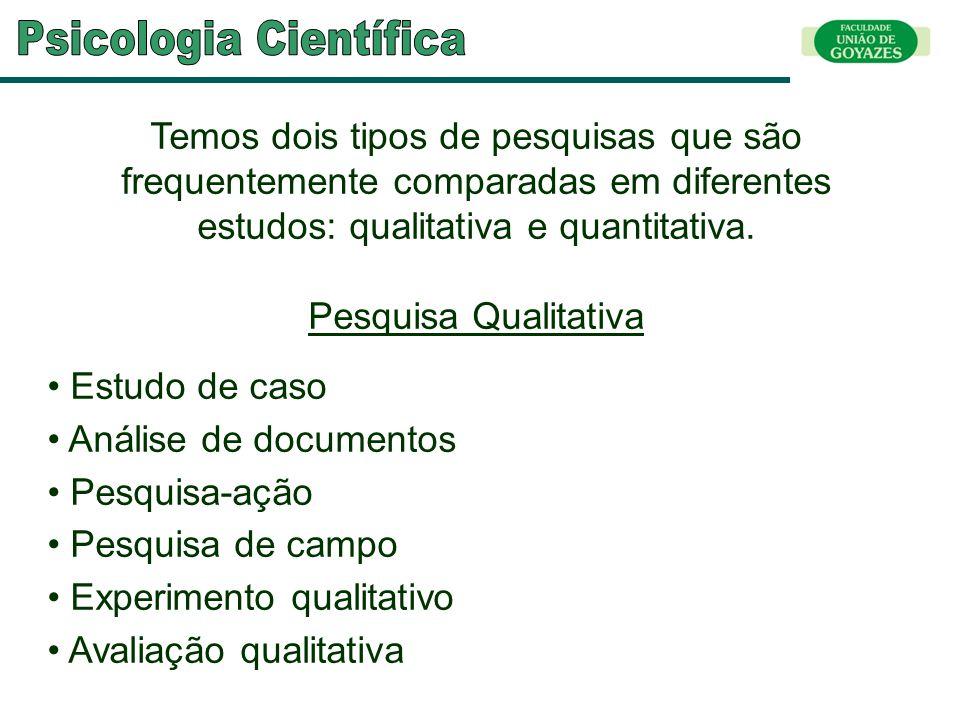 Temos dois tipos de pesquisas que são frequentemente comparadas em diferentes estudos: qualitativa e quantitativa. Pesquisa Qualitativa Estudo de caso