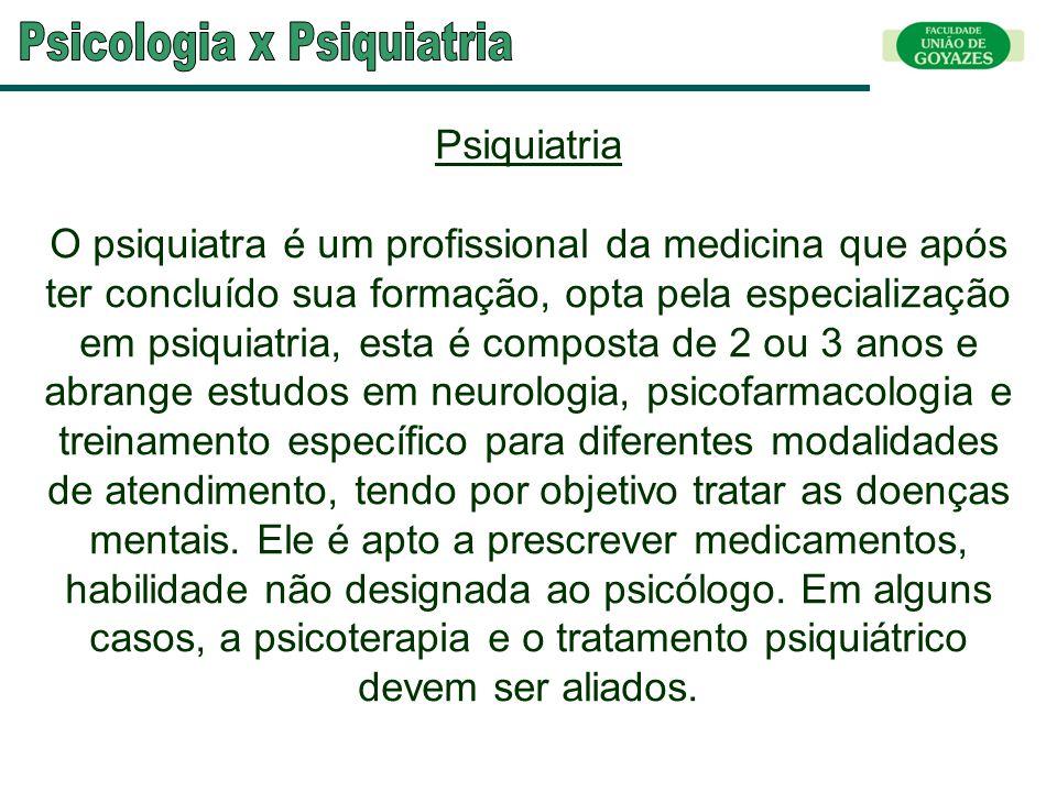 Psiquiatria O psiquiatra é um profissional da medicina que após ter concluído sua formação, opta pela especialização em psiquiatria, esta é composta d
