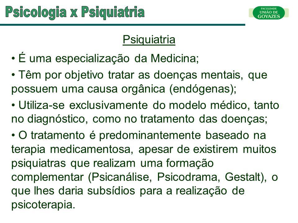 Psiquiatria É uma especialização da Medicina; Têm por objetivo tratar as doenças mentais, que possuem uma causa orgânica (endógenas); Utiliza-se exclu
