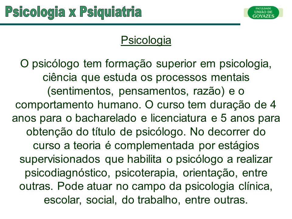 Psicologia O psicólogo tem formação superior em psicologia, ciência que estuda os processos mentais (sentimentos, pensamentos, razão) e o comportament
