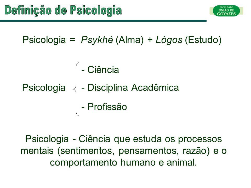 Psicologia = Psykhé (Alma) + Lógos (Estudo) Psicologia - Profissão - Disciplina Acadêmica - Ciência Psicologia - Ciência que estuda os processos menta
