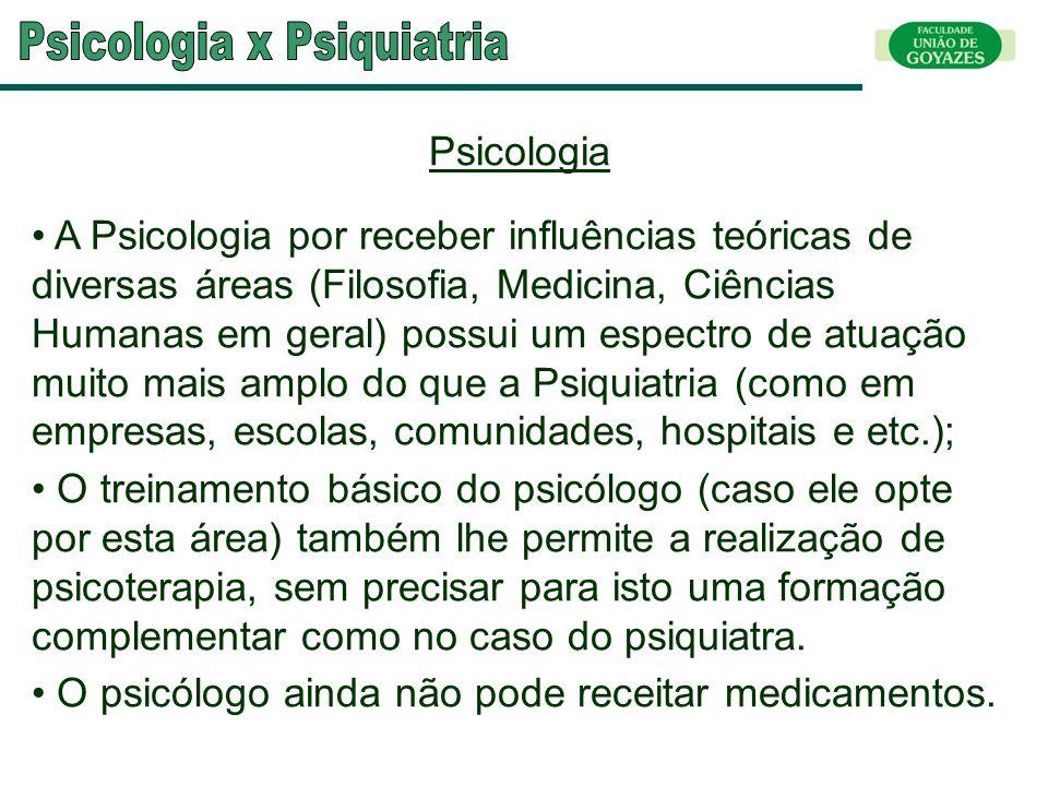 Psicologia A Psicologia por receber influências teóricas de diversas áreas (Filosofia, Medicina, Ciências Humanas em geral) possui um espectro de atua