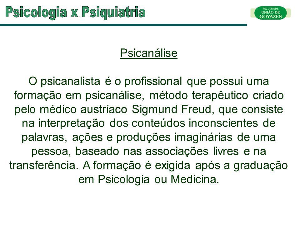 Psicanálise O psicanalista é o profissional que possui uma formação em psicanálise, método terapêutico criado pelo médico austríaco Sigmund Freud, que