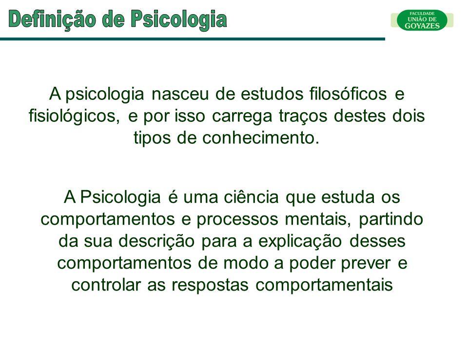 A psicologia nasceu de estudos filosóficos e fisiológicos, e por isso carrega traços destes dois tipos de conhecimento. A Psicologia é uma ciência que