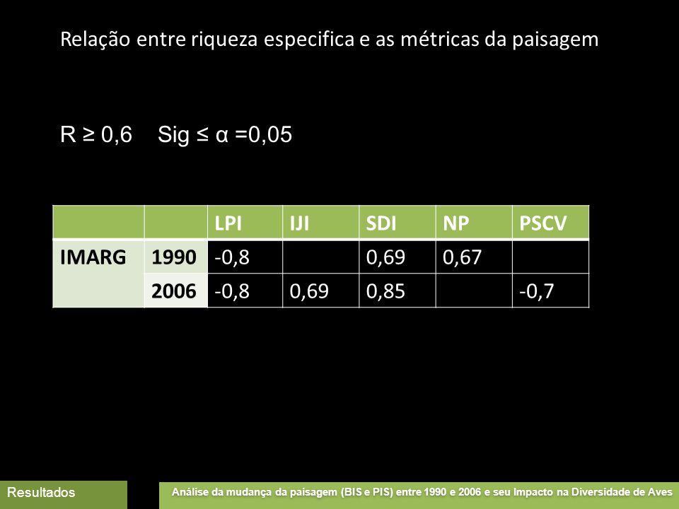 Relação entre riqueza especifica e as métricas da paisagem LPIIJISDINPPSCV IMARG1990-0,80,690,67 2006-0,80,690,85-0,7 R ≥ 0,6 Sig ≤ α =0,05 Análise da mudança da paisagem (BIS e PIS) entre 1990 e 2006 e seu Impacto na Diversidade de Aves Resultados