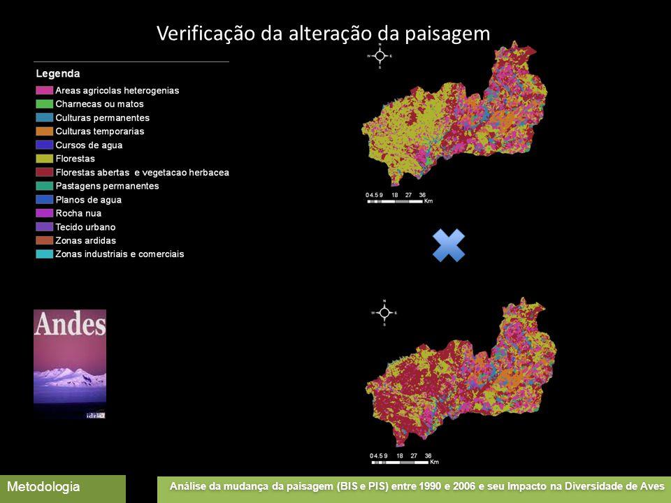 Análise da mudança da paisagem (BIS e PIS) entre 1990 e 2006 e seu Impacto na Diversidade de Aves Metodologia Verificação da alteração da paisagem