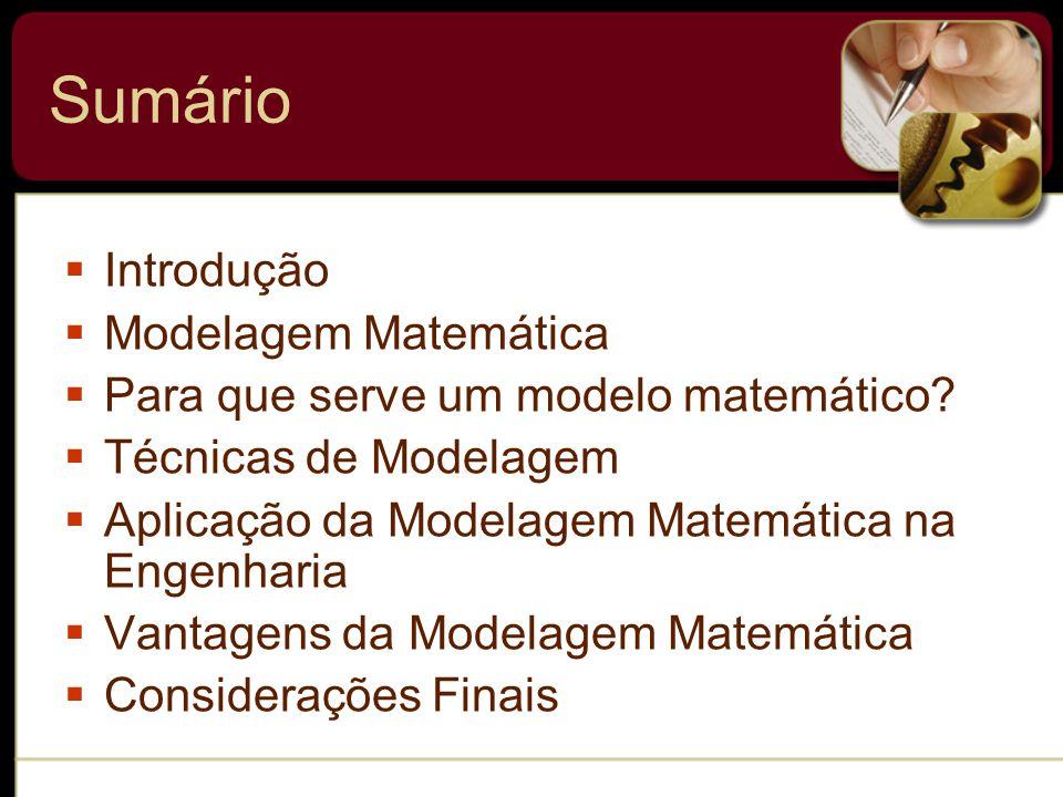 Sumário  Introdução  Modelagem Matemática  Para que serve um modelo matemático.