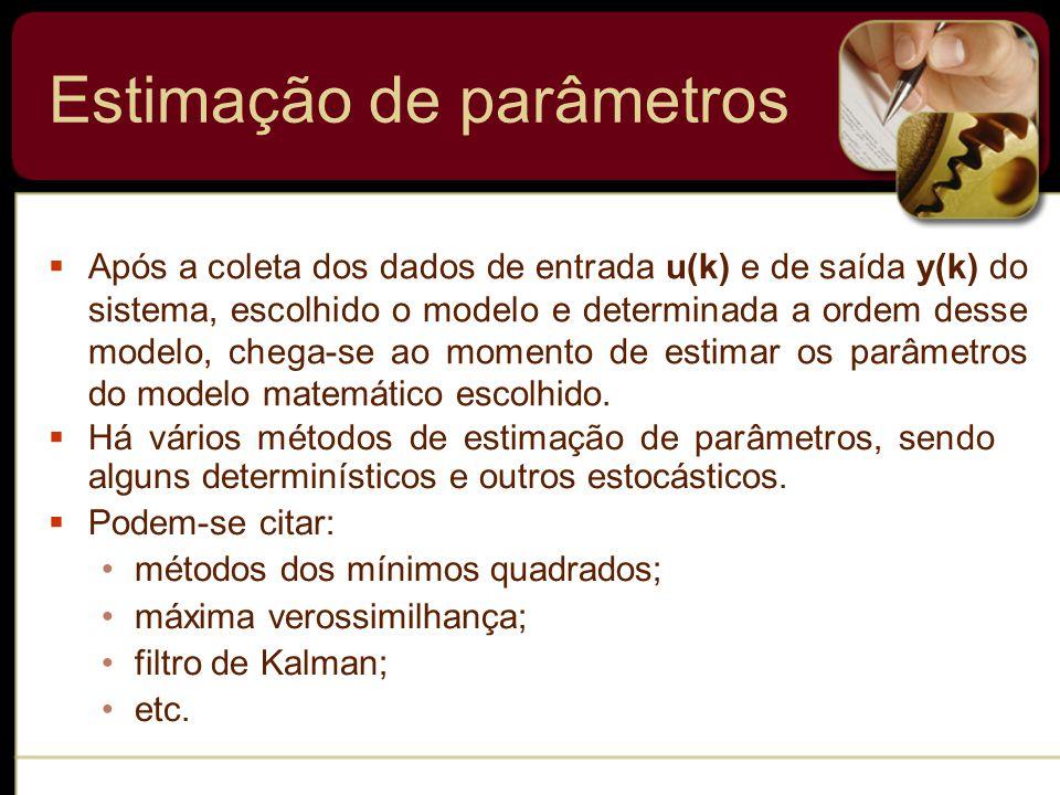  Há vários métodos de estimação de parâmetros, sendo alguns determinísticos e outros estocásticos.