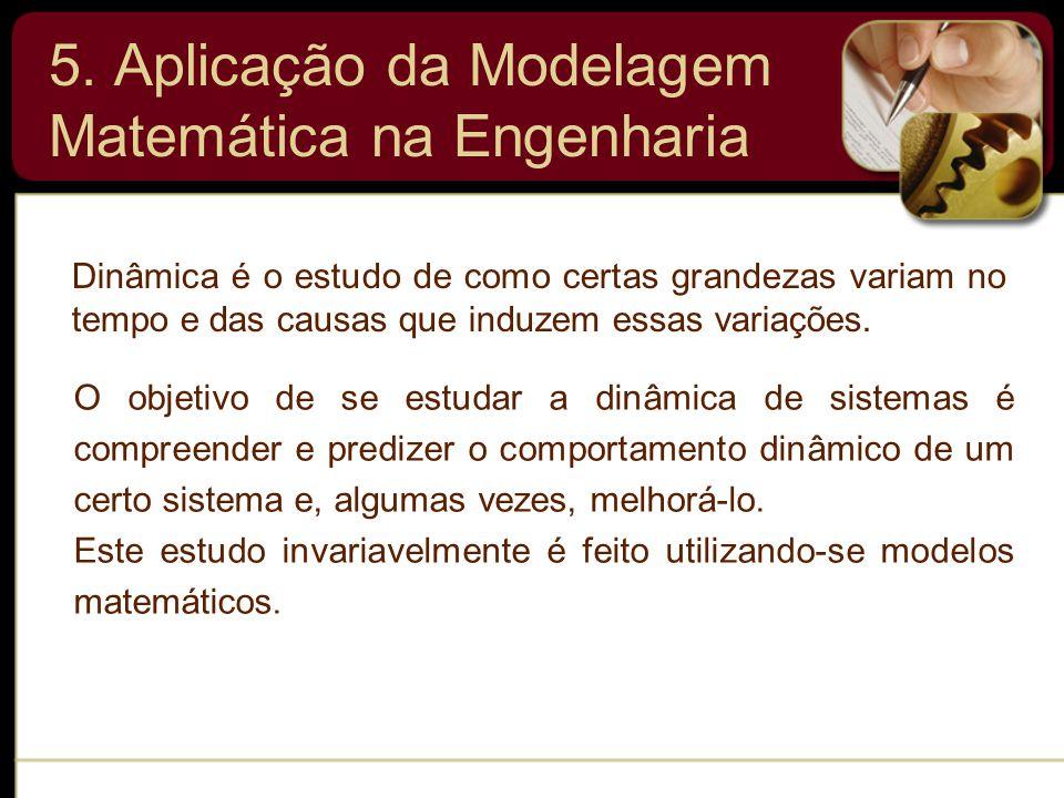 5. Aplicação da Modelagem Matemática na Engenharia Dinâmica é o estudo de como certas grandezas variam no tempo e das causas que induzem essas variaçõ