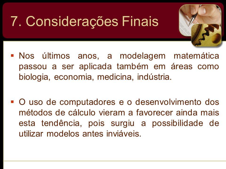  Nos últimos anos, a modelagem matemática passou a ser aplicada também em áreas como biologia, economia, medicina, indústria.
