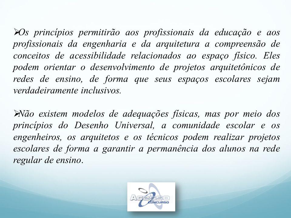  Os princípios permitirão aos profissionais da educação e aos profissionais da engenharia e da arquitetura a compreensão de conceitos de acessibilida