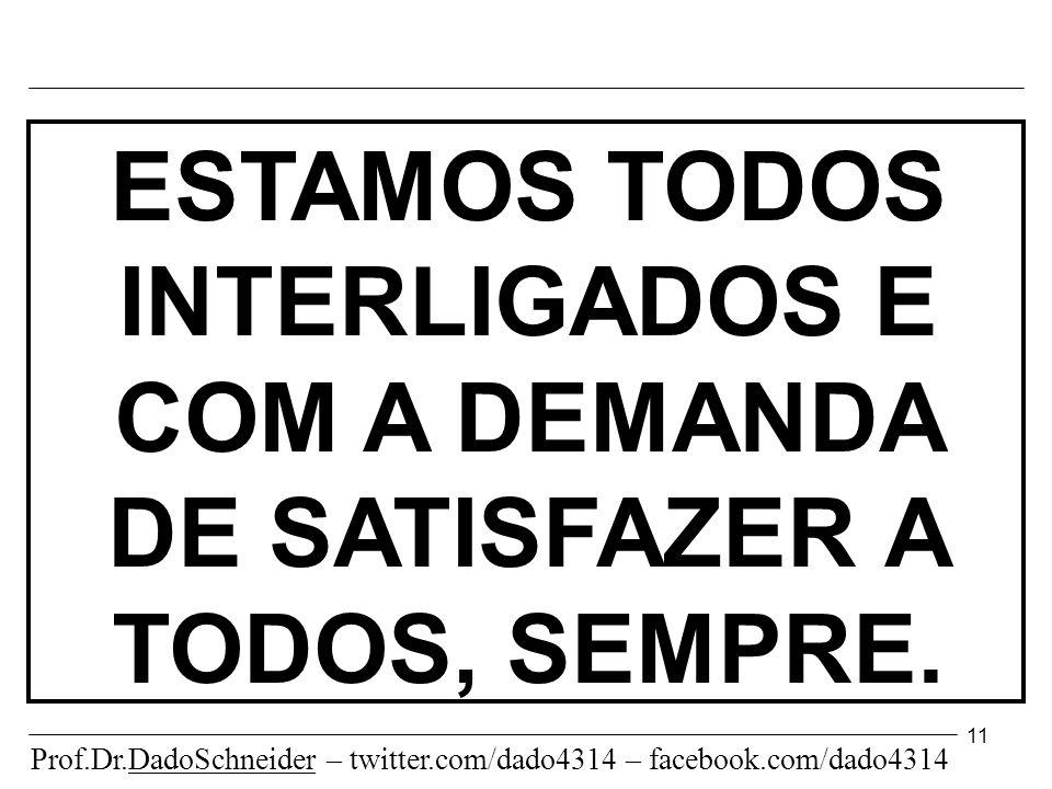 11 ESTAMOS TODOS INTERLIGADOS E COM A DEMANDA DE SATISFAZER A TODOS, SEMPRE.