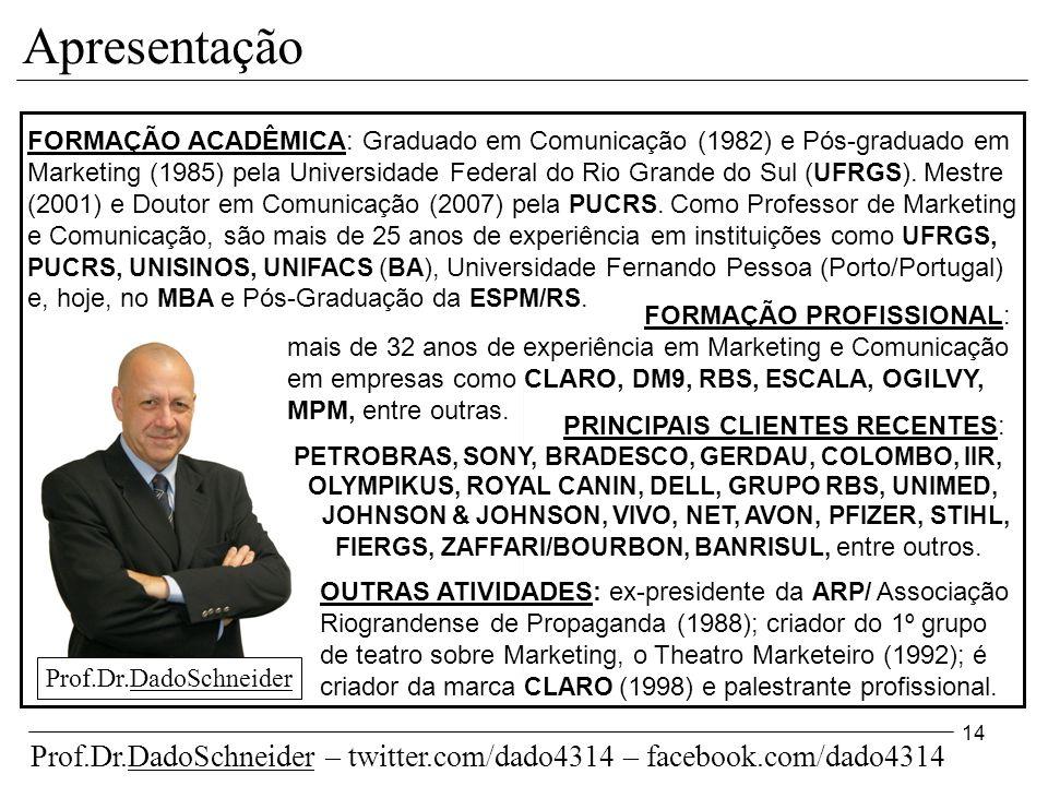 14 Apresentação FORMAÇÃO ACADÊMICA: Graduado em Comunicação (1982) e Pós-graduado em Marketing (1985) pela Universidade Federal do Rio Grande do Sul ( UFRGS ).