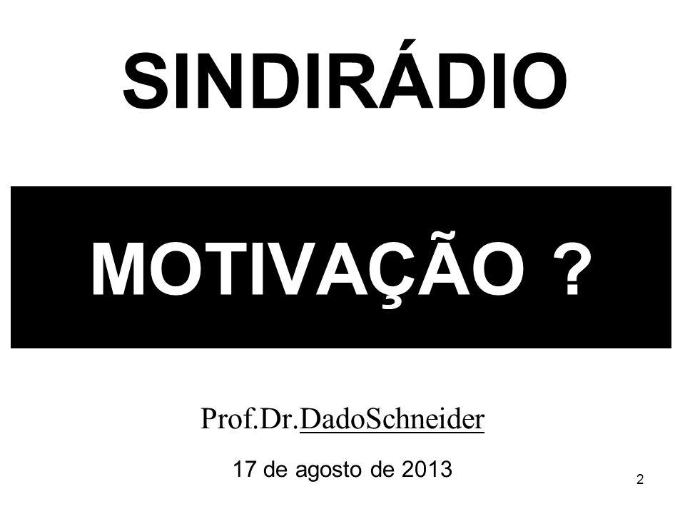 2 MOTIVAÇÃO Prof.Dr.DadoSchneider 17 de agosto de 2013 SINDIRÁDIO