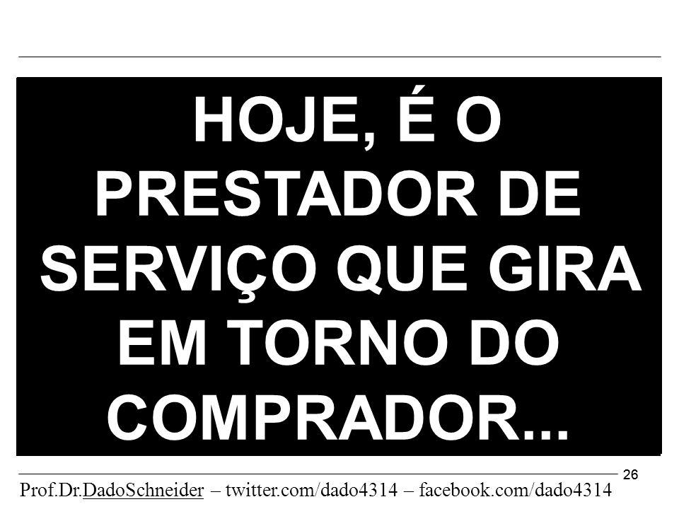 26 HOJE, É O PRESTADOR DE SERVIÇO QUE GIRA EM TORNO DO COMPRADOR...