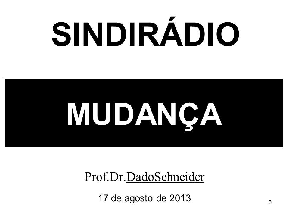 3 MUDANÇA Prof.Dr.DadoSchneider 17 de agosto de 2013 SINDIRÁDIO