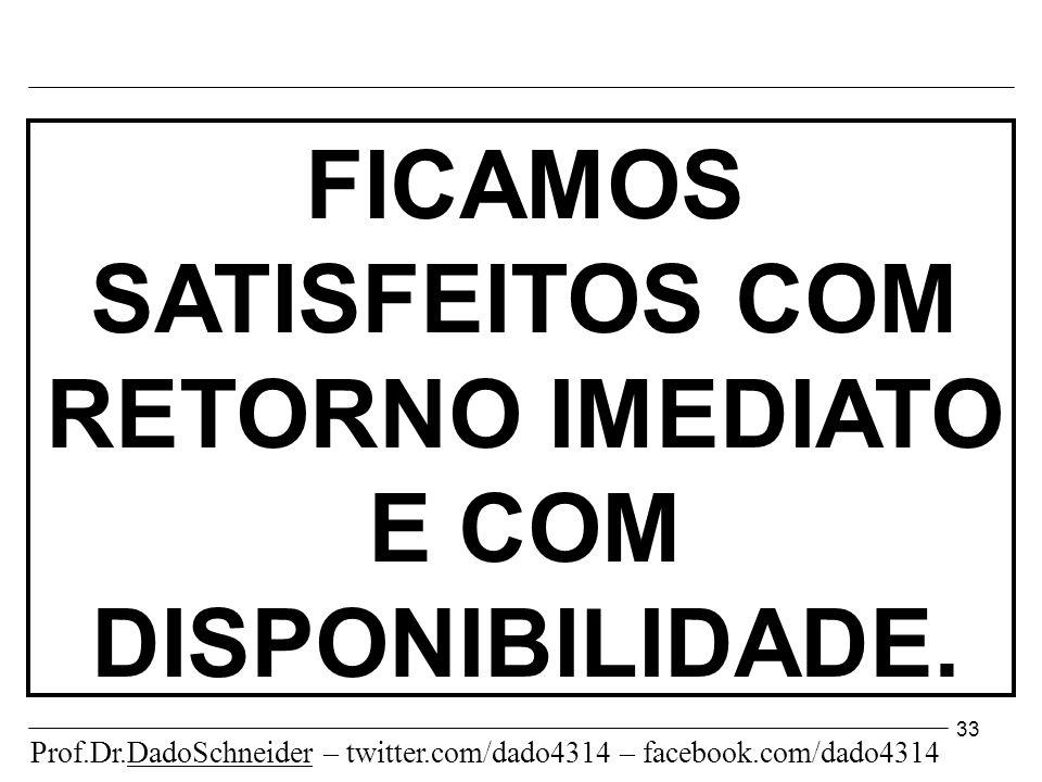 33 FICAMOS SATISFEITOS COM RETORNO IMEDIATO E COM DISPONIBILIDADE.