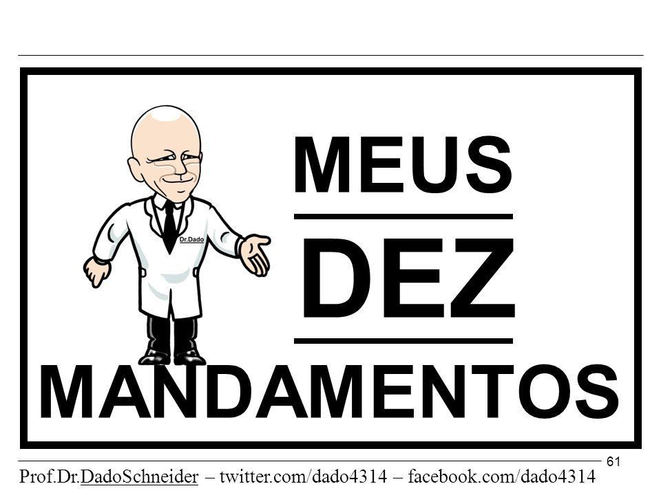 MEUS DEZ MANDAMENTOS Prof.Dr.DadoSchneider – twitter.com/dado4314 – facebook.com/dado4314 61
