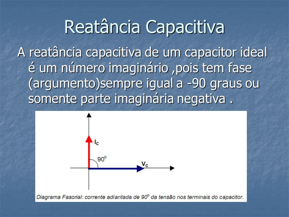 Reatância Capacitiva A reatância capacitiva de um capacitor ideal é um número imaginário,pois tem fase (argumento)sempre igual a -90 graus ou somente